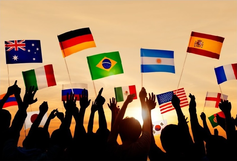 Football playing countries flags