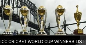 ICC Cricket World Cup Winners List since 1975