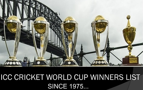 ICC Cricket World Cup Winners List Since 1975.