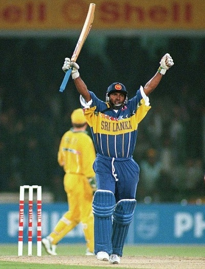 Aravinda de Silva scored century in 1996 cricket world cup final.