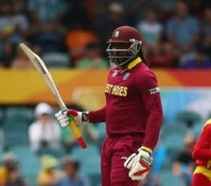 Chris Gayle hits 22nd ODI century against Zimbabwe at Canberra.