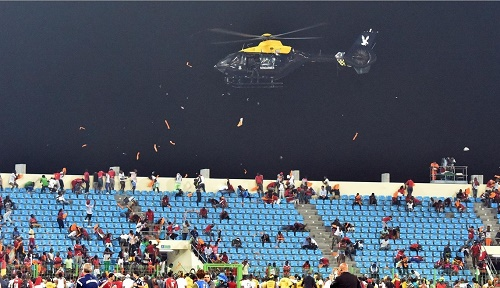 Helicopter flew around stadium to clam Equatorial Guinea crowd protest in semifinal 2015 afcon against Ghana.