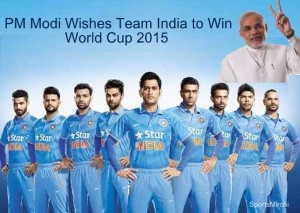 Indian Prime minister Narendra Modi wishes team India best of luck for 2015 cricket world cup.