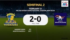 Jaypee Punjab Warriors beat Delhi Waveriders to qualify for HIL 2015 final.