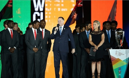 New Zealand Prime Minister John Key addressed crowd in 2015 world cup inaugural ceremony.