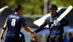 New Zealand beat scotland by 3 wickets in 2015 world cup pool A match.