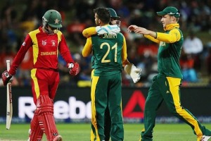 South Africa won by 62 runs against Zimbabwe in 2015 cricket world cup.