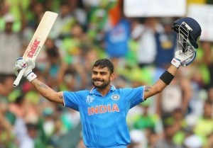 Virat Kohli becomes first Indian to score hundred in IND-PAK cricket world cup clash.