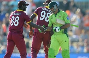 West Indies beat Pakistan by 150 runs in 2015 world cup.