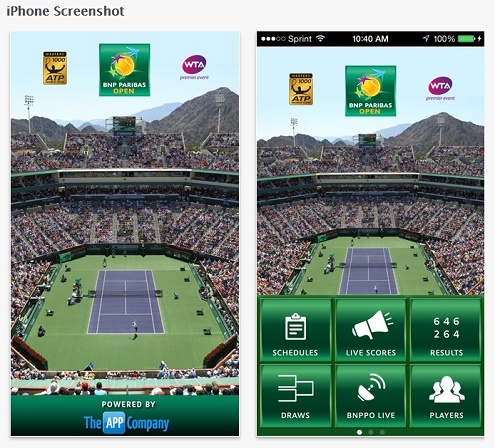 2015 BNP Paribas Open official App declared with exciting features.