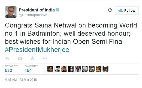 Pranab Mukharjee congratulated Saina Nehwal for becoming 1st Indian to earn rank-1.