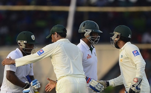 Bangladesh ends 1st test at draw against Pakistan in Khulna.