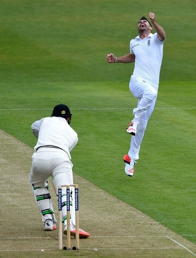 James Anderson celebrates Guptil's wicket as 400th test wicket.