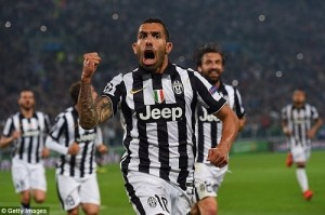 Tevez goal gives Juventus advantage against Real Madrid in UCL semi-final.