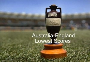 Ashes Lowest Scores by Australia and England in the history.