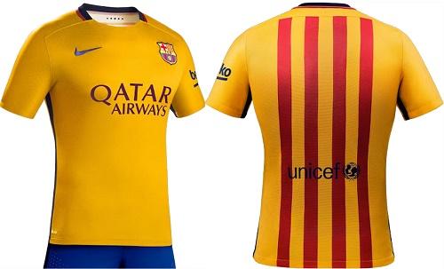 Barcelona 2015-16 away jersey kit.