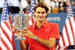 Roger Federer is first male to win US Open title 5 consecutive times.