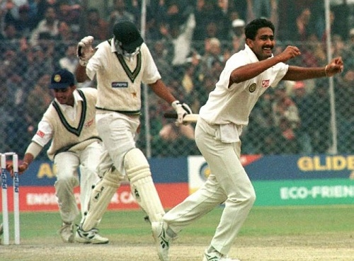 Anil Kumble took 10 wickets in a test match inning against Pakistan.