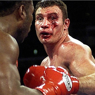Lennox Lewis damaged Vitali Klitschko left eye.