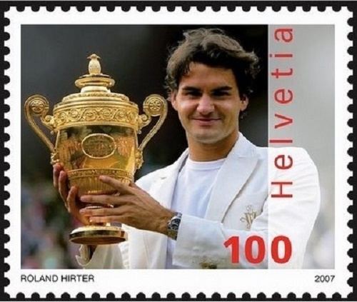 Roger Federer featured on Swiss stamp in 2007.