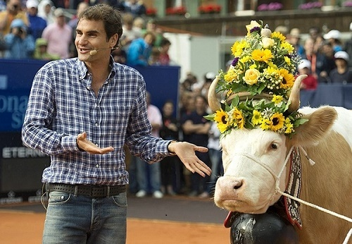 Roger Federer was gifted milking cow named Juliette.