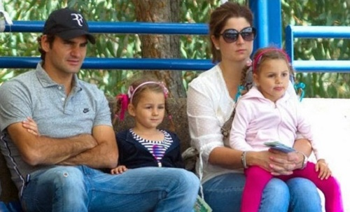 Roger and Mirka Federer with twin daughters Myla Rose and Charlene Riva.