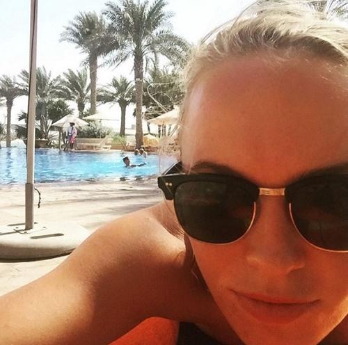 Caroline Wozniacki in pool party at Dubai