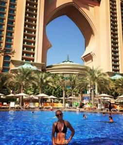 Caroline Wozniacki in pool party at UAE.