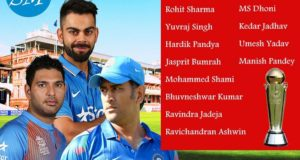 Indian Squad for ICC Champions Trophy 2017