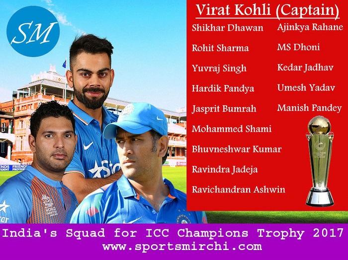 Team India Squad for ICC Champions Trophy 2017