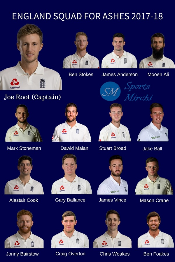 England Squad for Ashes 2017-18