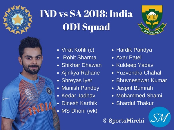 Indian ODI squad for South Africa 2018 Tour