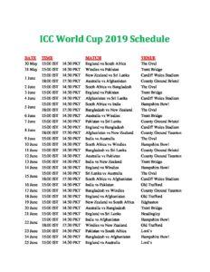 Icc T20 World Cup Schedule Pdf