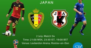 Belgium vs Japan Live Stream, TV Channels, Time 2018 World Cup