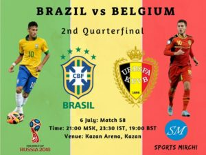 Brazil vs Belgium quarter final match 2018 FIFA world cup live streaming, coverage, broadcast