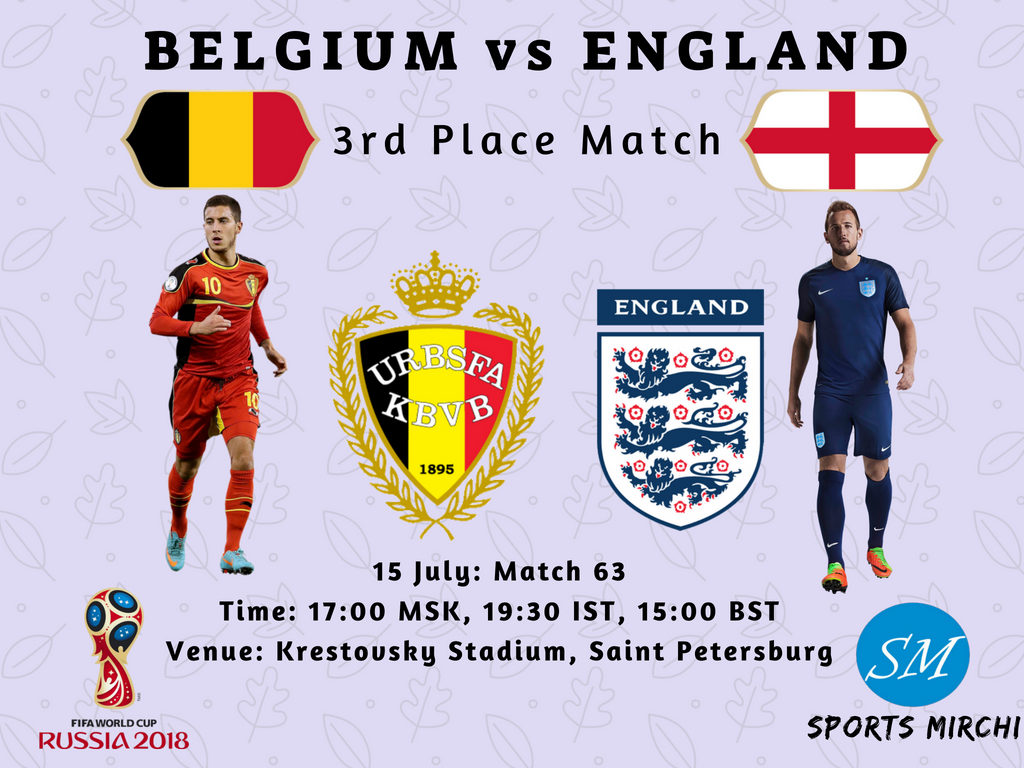 England vs Belgium 3rd place match 2018 FIFA world cup live broadcast, coverage
