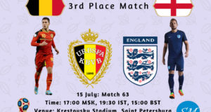 Belgium vs England 3rd Place 2018 World Cup Live Coverage, TV Channels