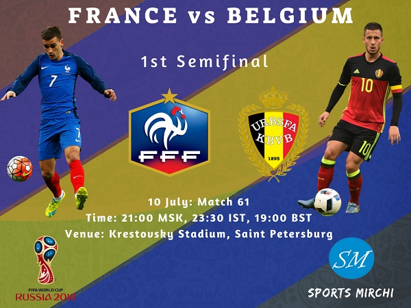 France vs Belgium semi-final of 2018 fifa world cup tv channels, live broadcast info