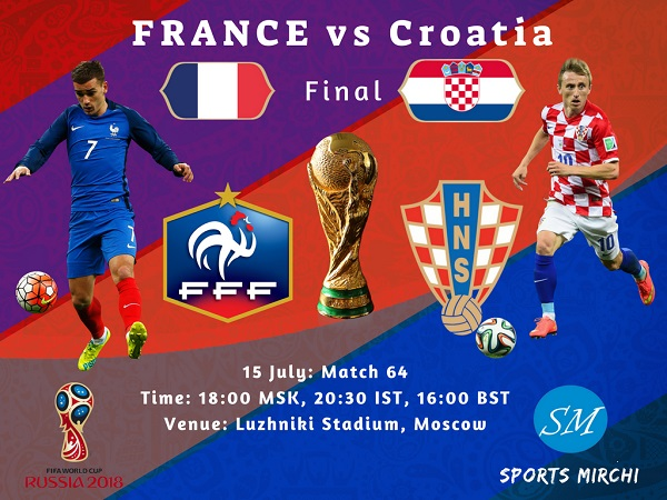 France vs Croatia final 2018 FIFA world cup live coverage, tv channels