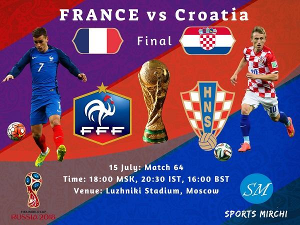 France vs Croatia final 2018 FIFA world cup live coverage, tv channels