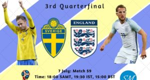 Sweden vs England Quarterfinal Live Stream, TV Channels 2018 world cup