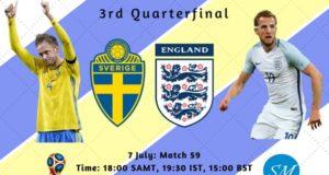 Sweden vs England Quarterfinal Live Stream, TV Channels 2018 world cup