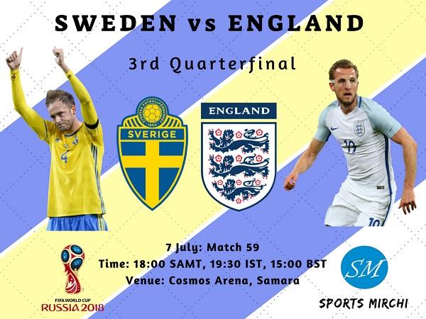 Sweden vs England Quarterfinal 2018 world cup tv channels listing