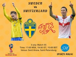 Sweden vs Switzerland 2018 FIFA world cup round of 16 match on 3 July