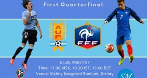 Uruguay vs France Live Streaming, TV Channels QF 2018 World Cup