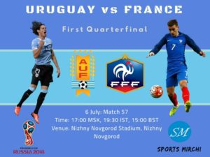 Uruguay vs France 2018 FIFA World Cup quarterfinal match