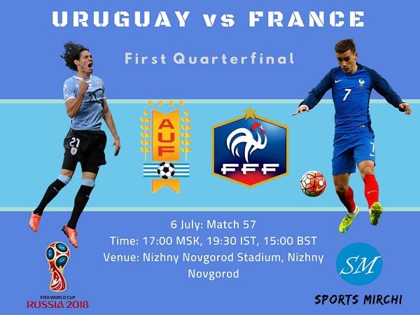 Uruguay vs France 2018 FIFA World Cup quarterfinal match