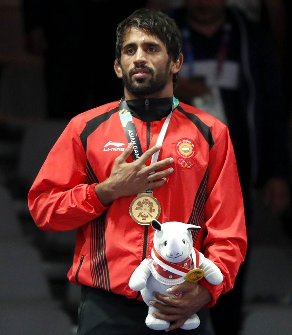 Bajrang Punia wins gold medal at 2018 Asian games