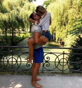 Alicia Schmidt kissing boyfriend Fredi Richter