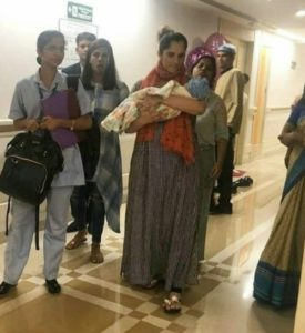Sania Mirza coming out with baby boy Izhaan from Hyderabad Rainbow hospital